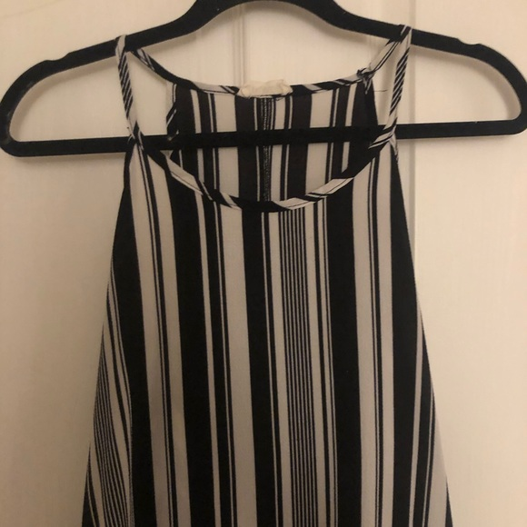 Black and White Halter Swing Dress